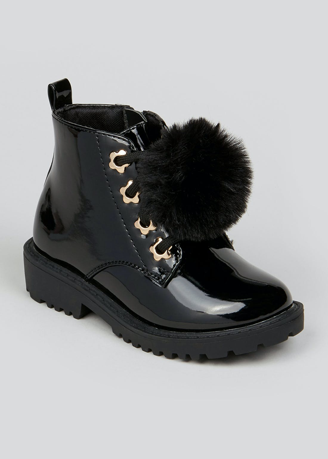 Girls Black Patent Pom Pom Boots (Younger 4-12)