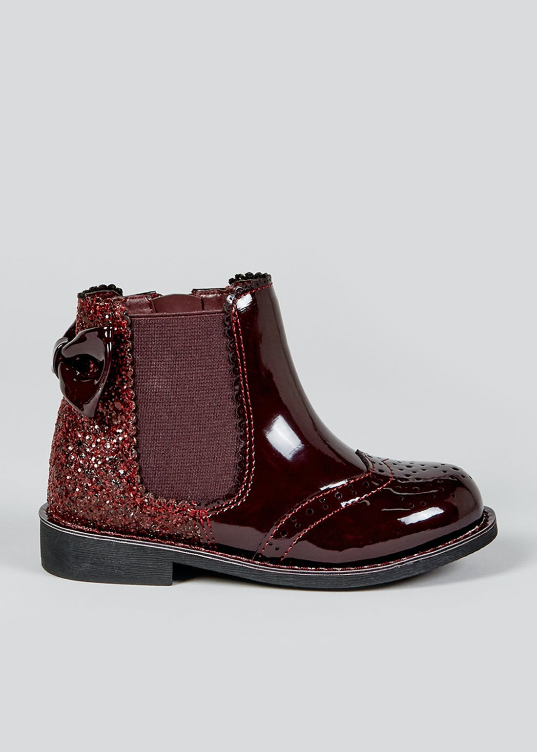 Girls Burgundy Glitter Ankle Boots (Younger 4-12)