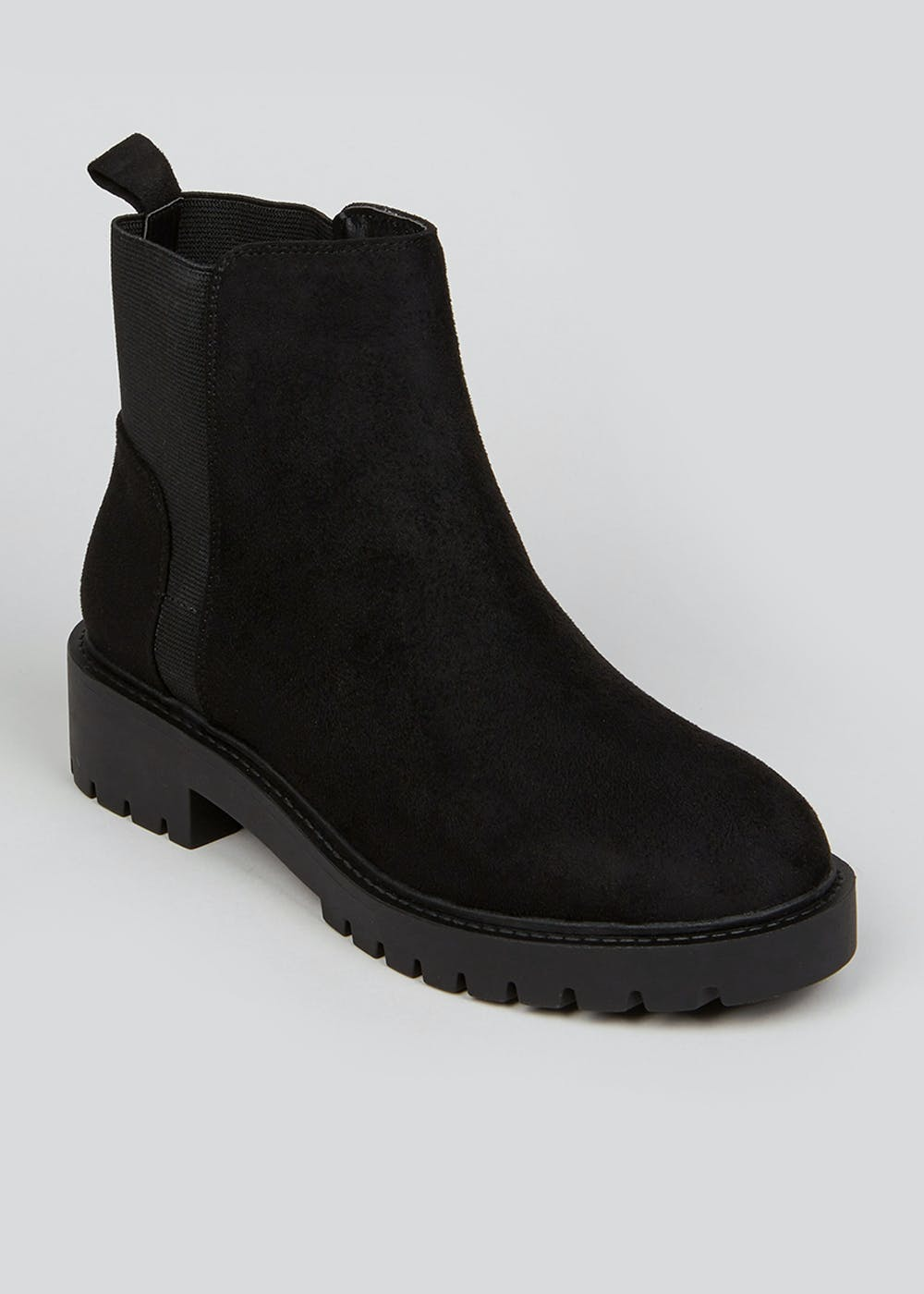 Wide Fit Black Cleated Chelsea Boots