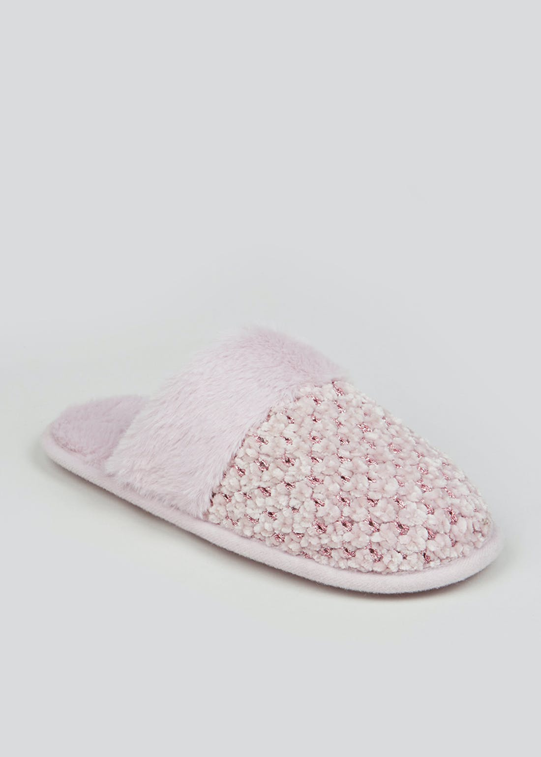 Pink Chenille Knit Mule Slippers