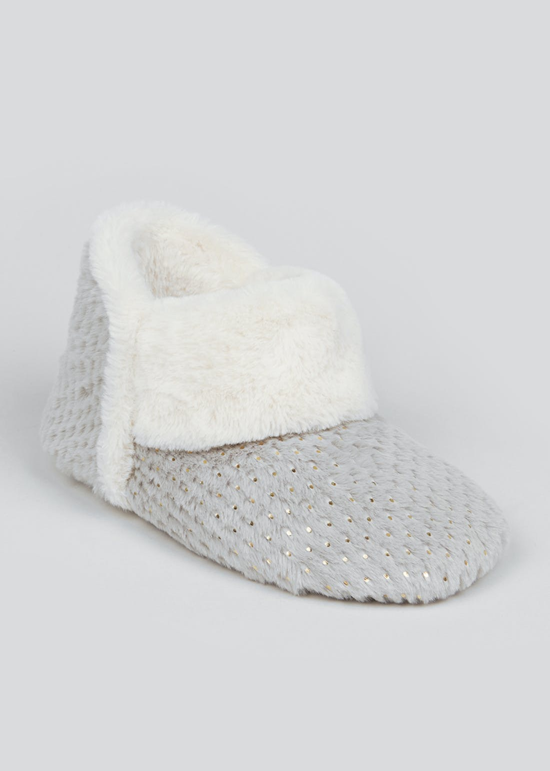 Grey Chenille Knit Slipper Boots
