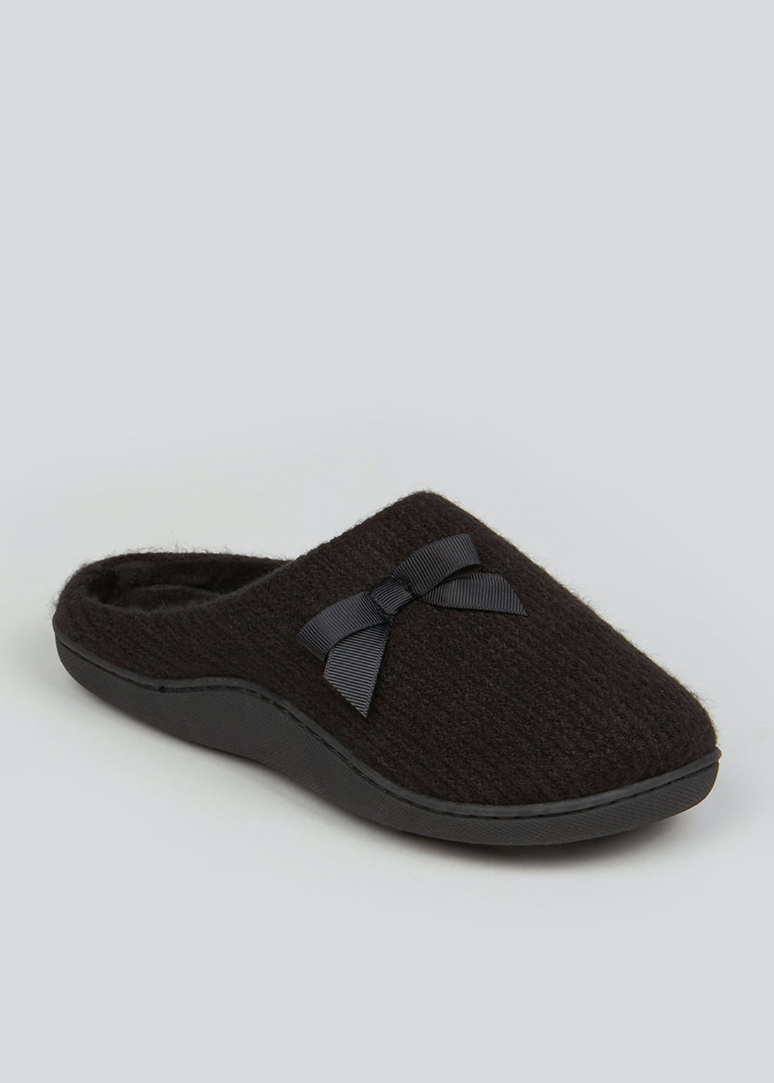 Black Hidden Support Mule Slippers