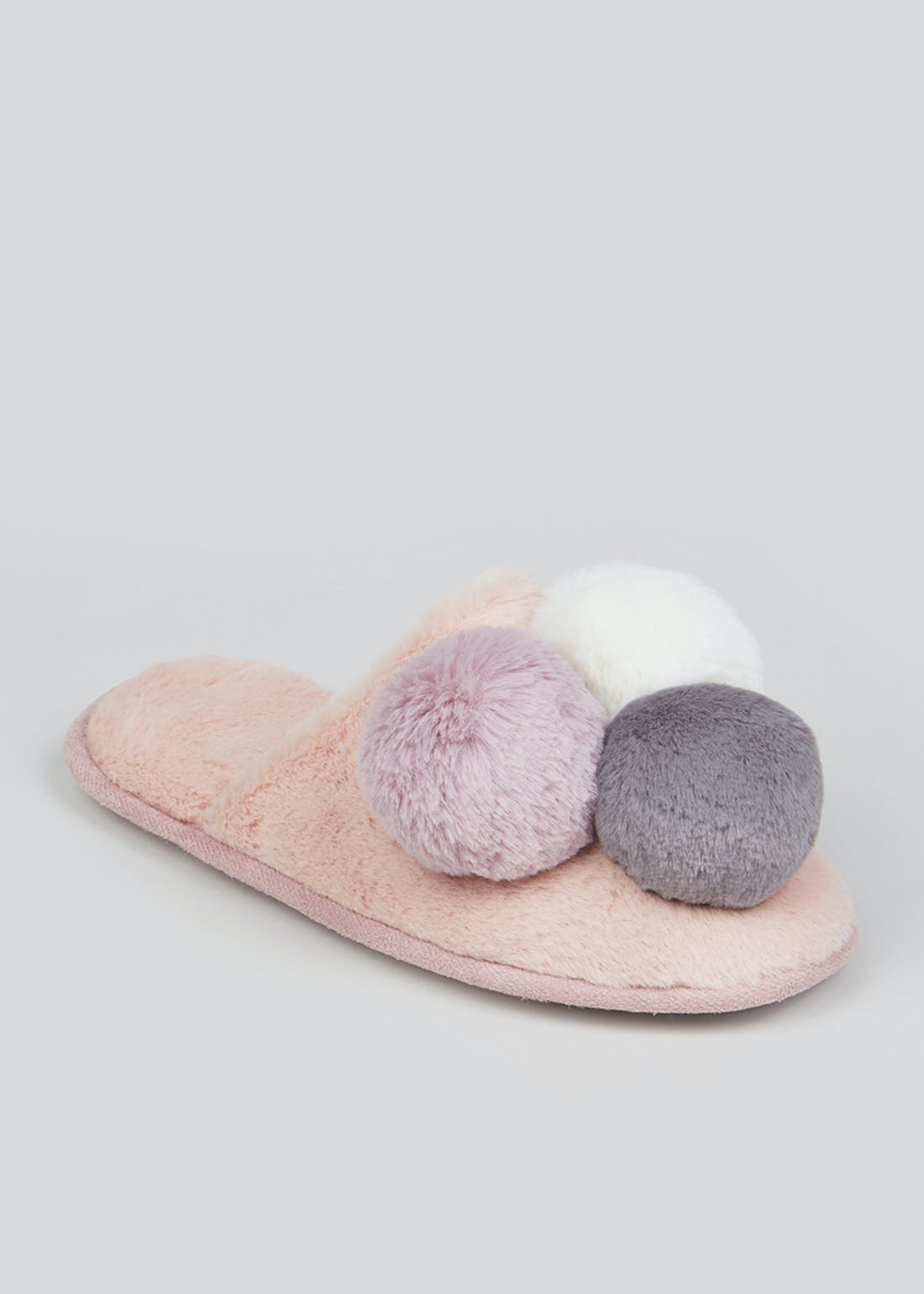Pink Fluffy Pom Pom Mule Slippers