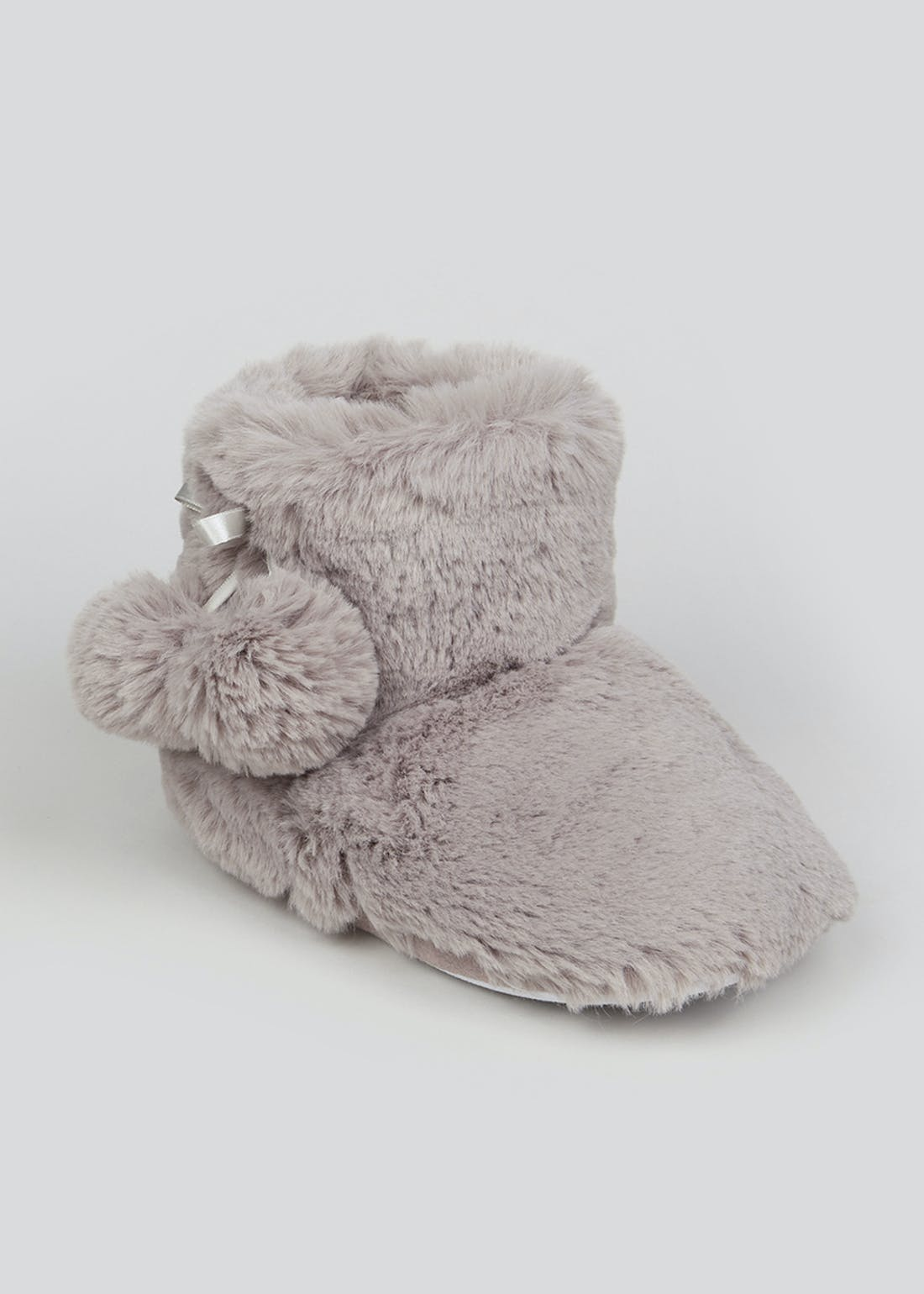 Grey Fluffy Pom Pom Slipper Boots