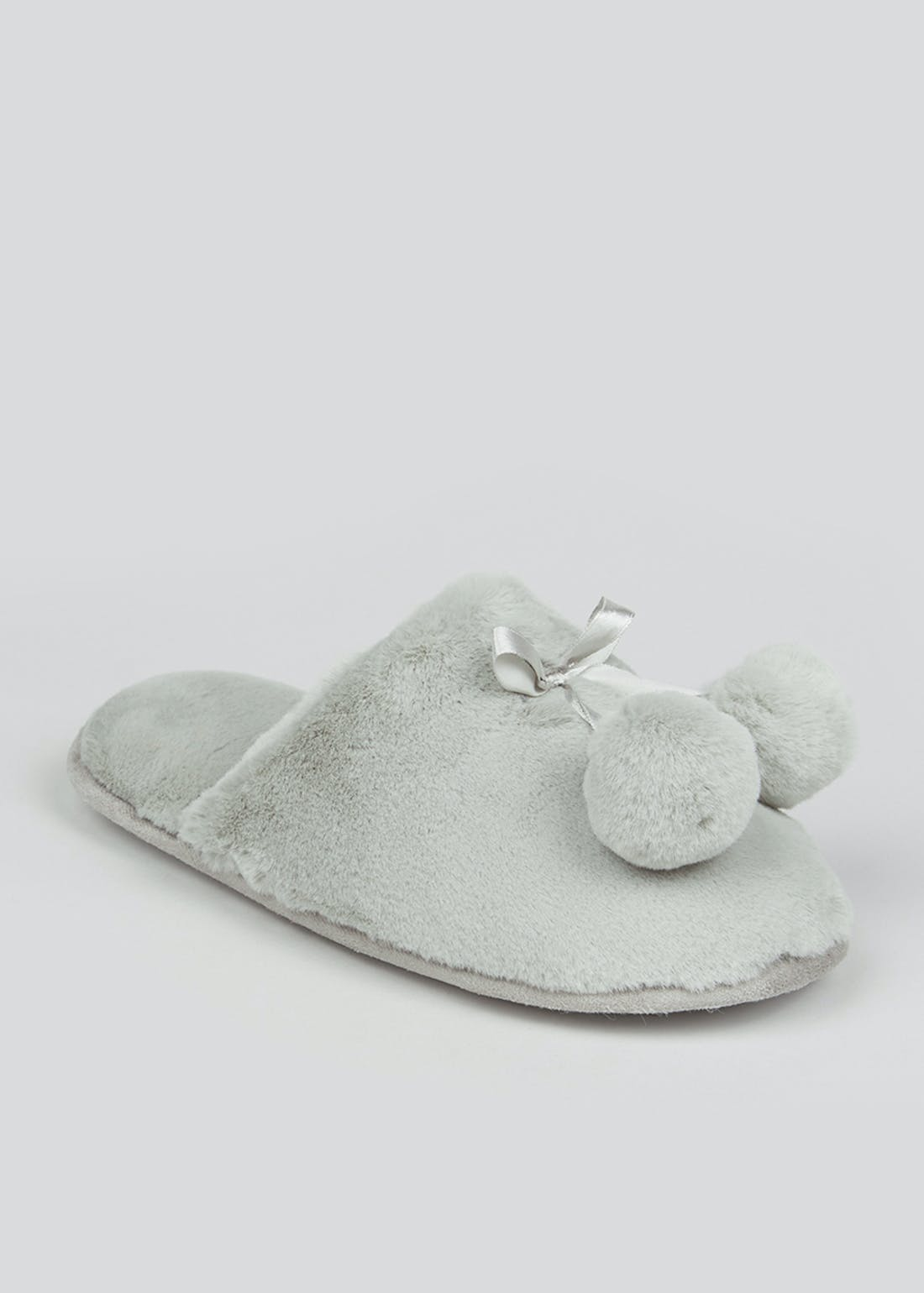 Grey Faux Fur Pom Pom Slippers