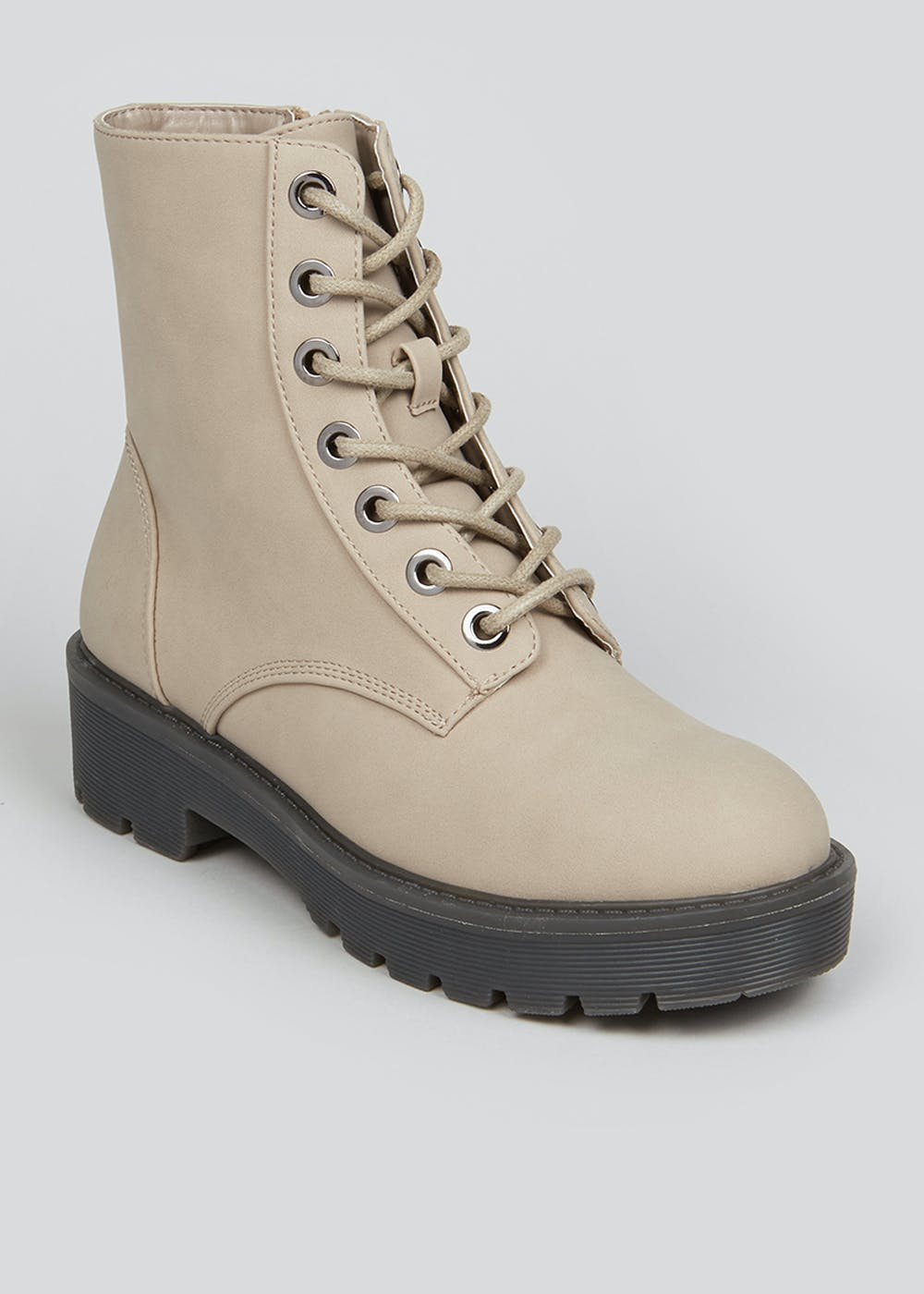 Cream Chunky Gum Sole Lace Up Boots