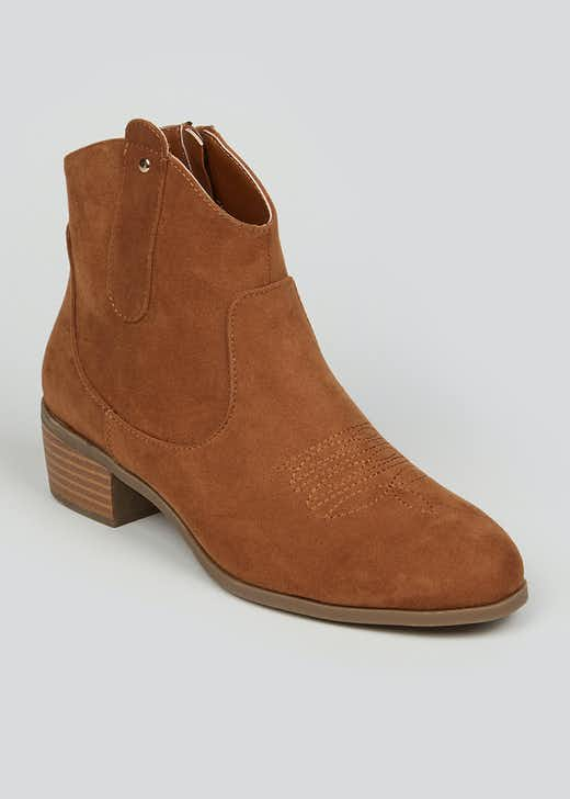 Tan Suedette Western Boots