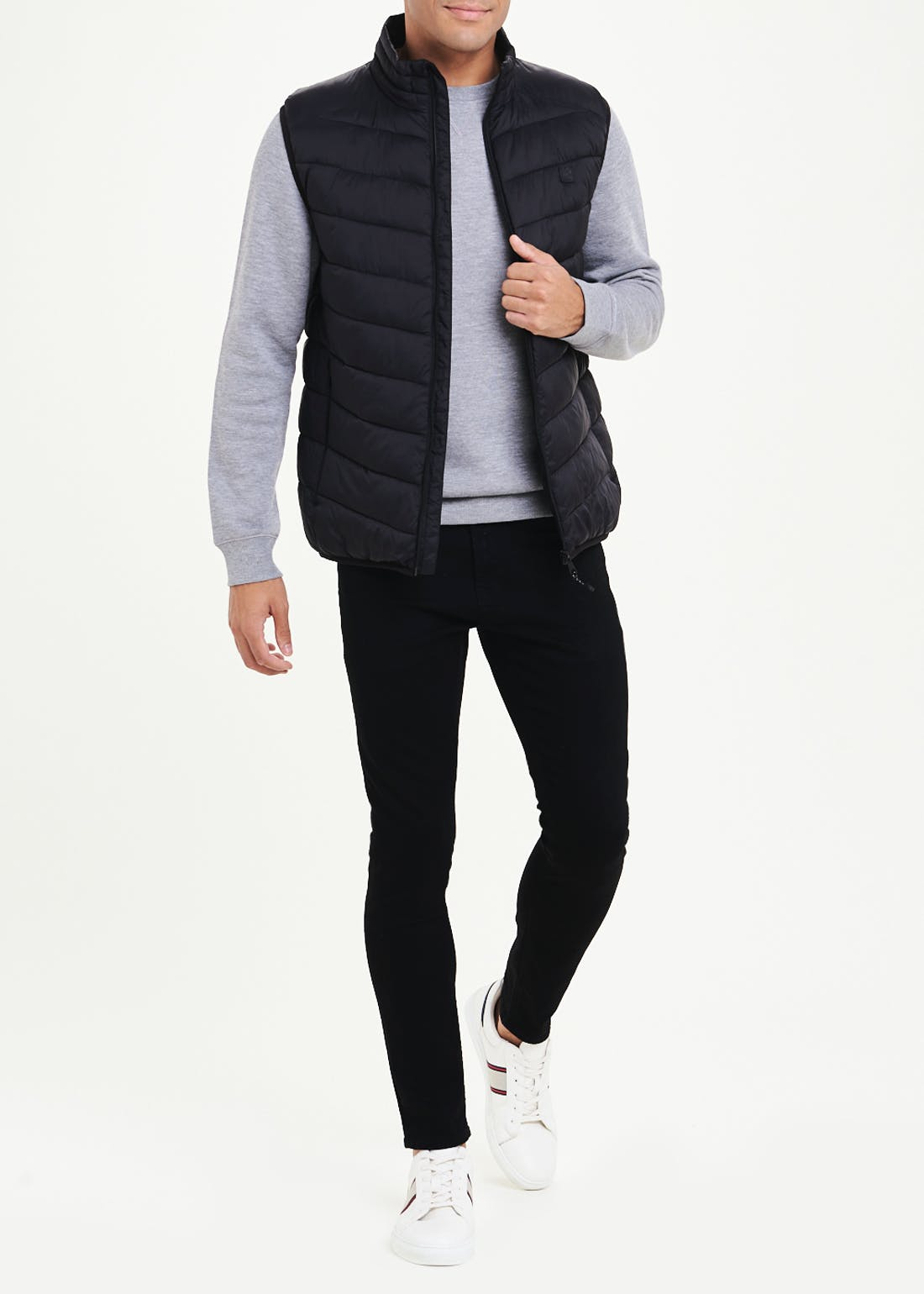 Black Lightweight Funnel Neck Gilet
