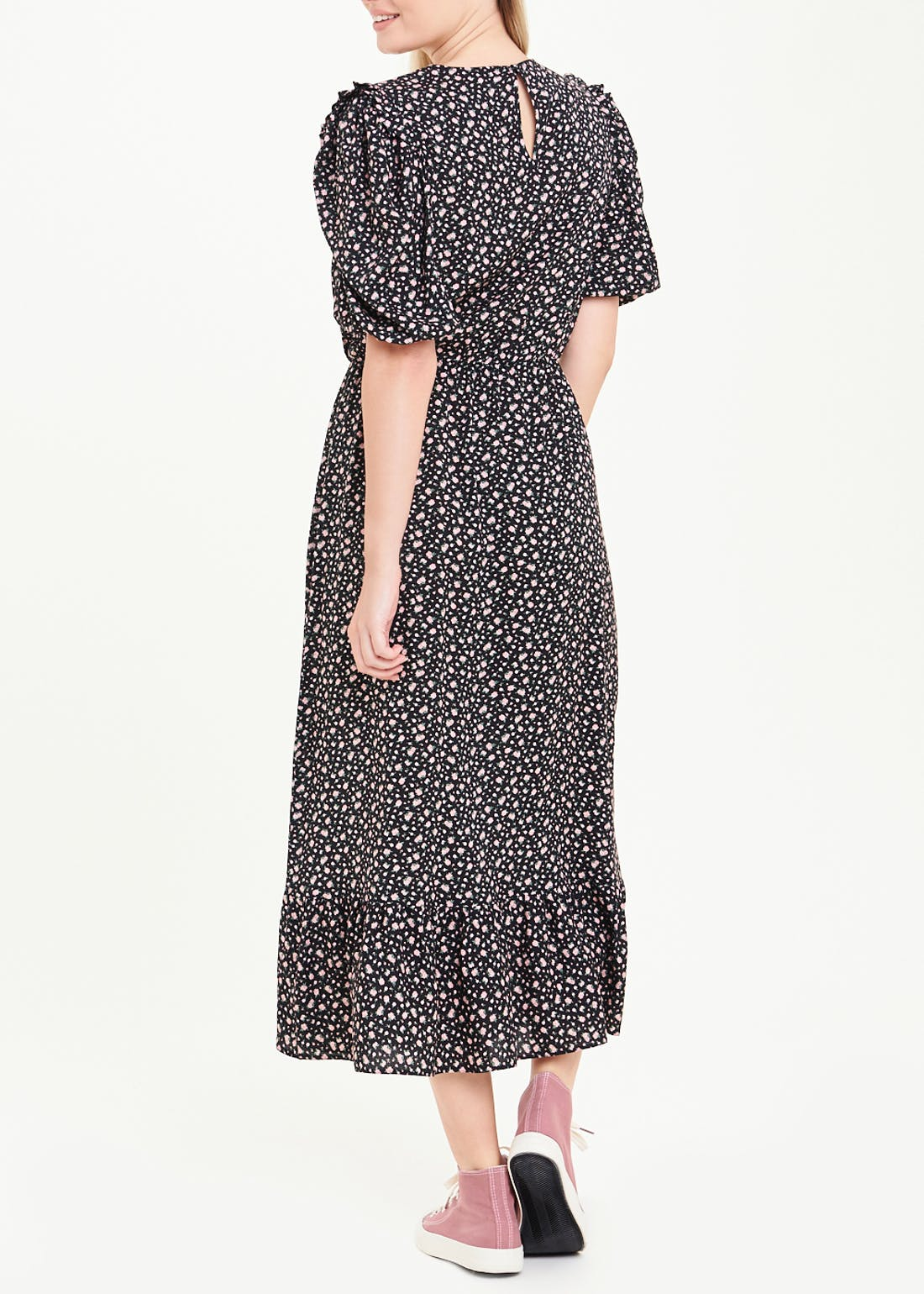 Black Puff Sleeve Ditsy Floral Midi Dress