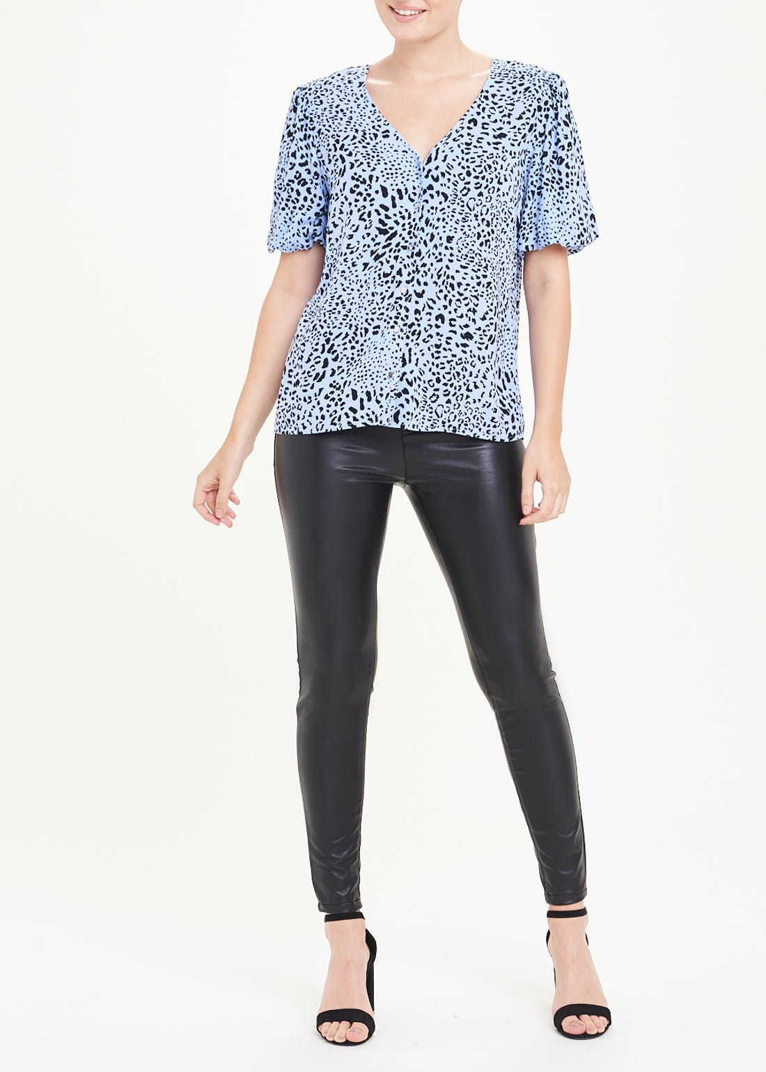 Blue Leopard Print Puff Sleeve Blouse