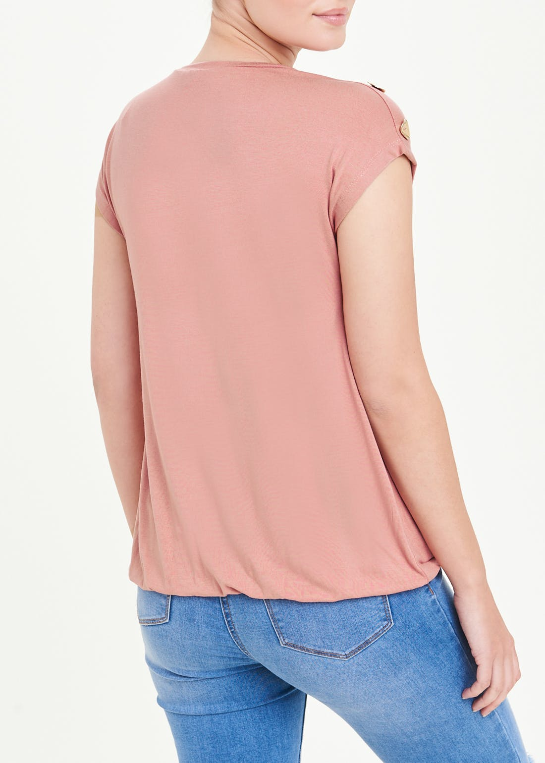 Button Shoulder T-Shirt