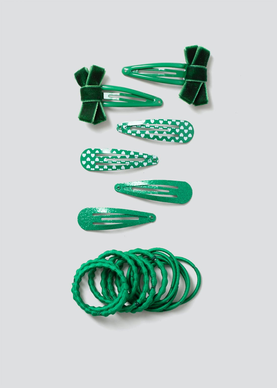 Girls Green School Hair Band & Clip Pack