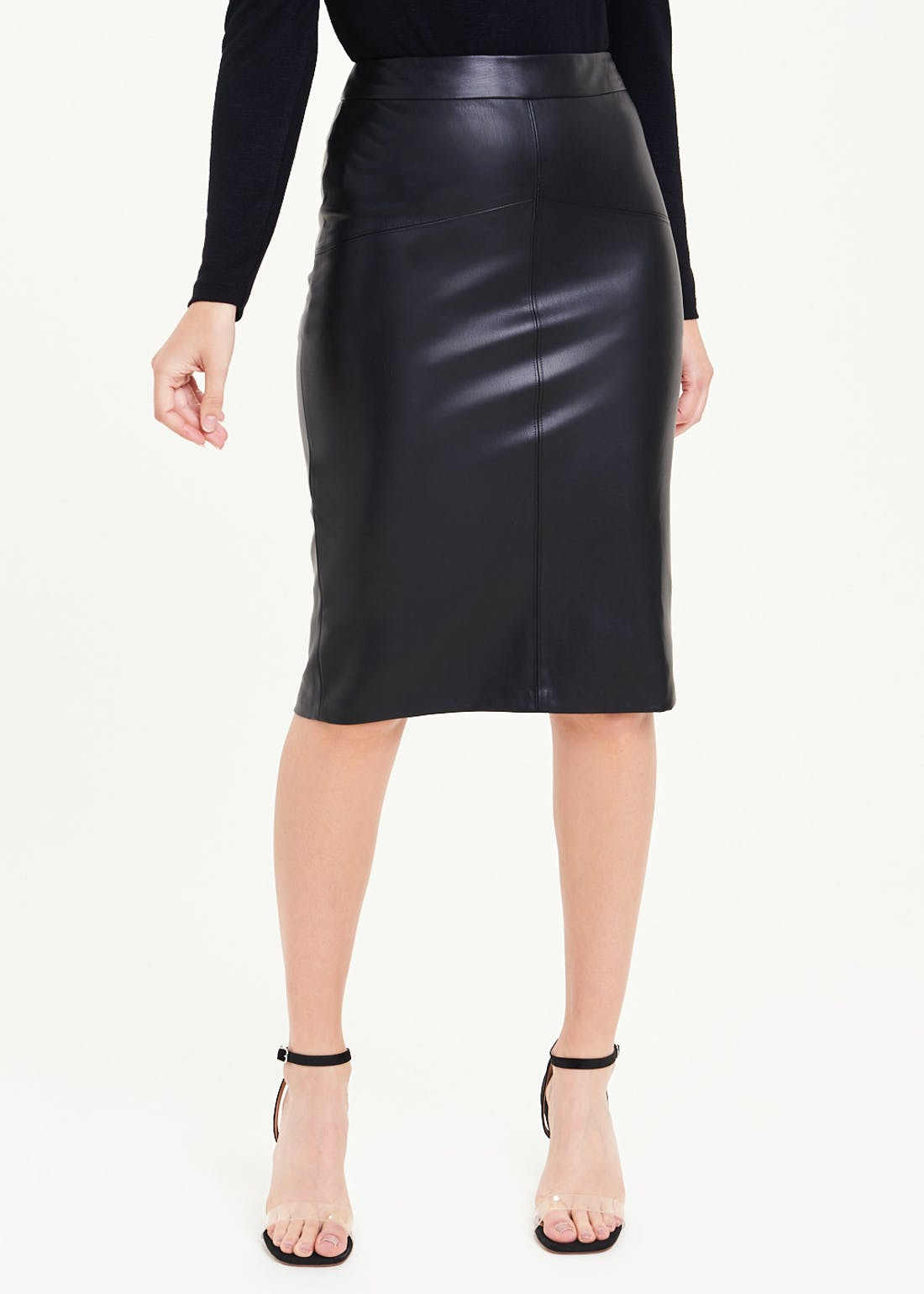 Leather Look PU Pencil Skirt