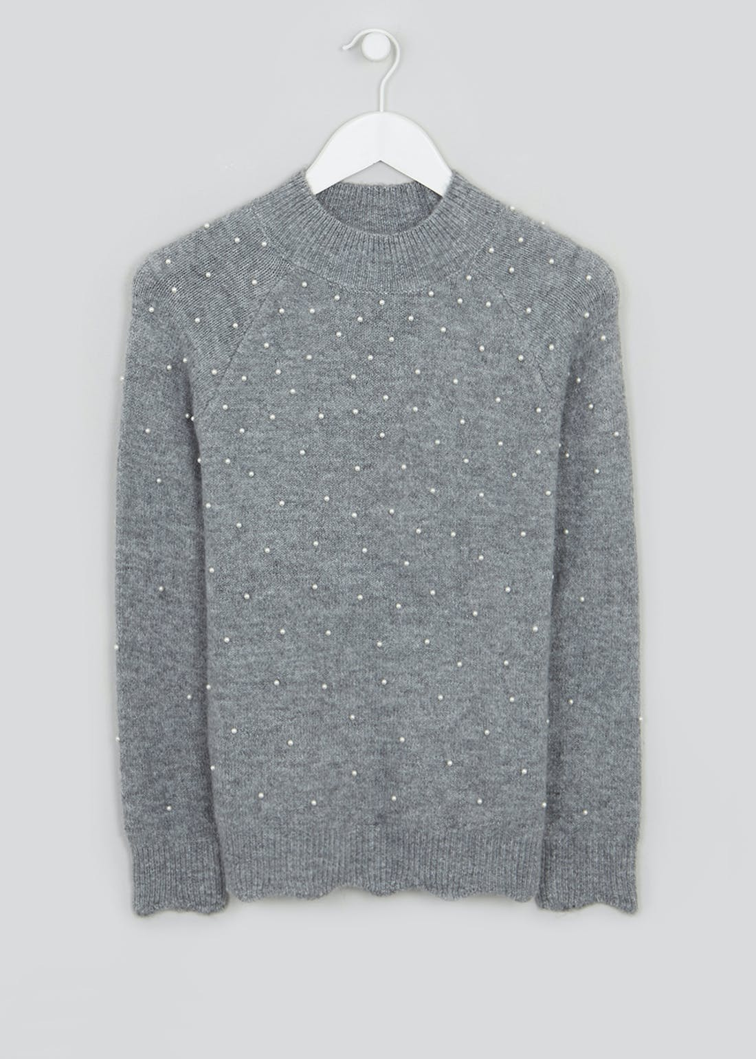 Pearl Detail Scallop Jumper