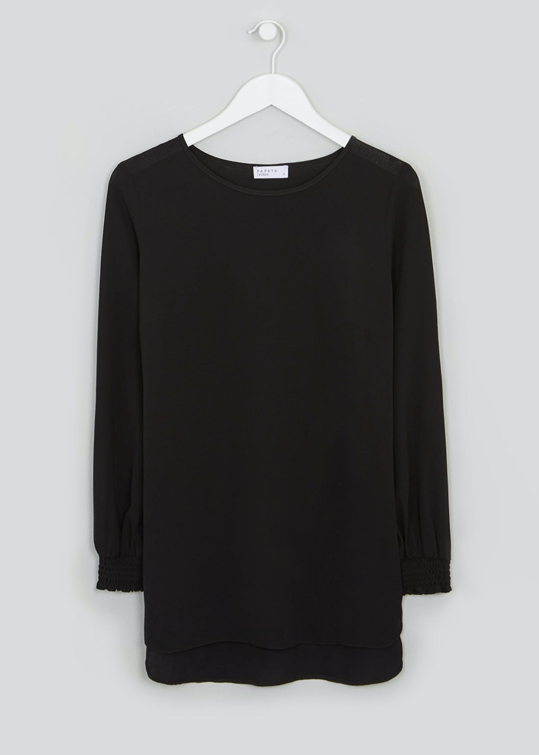 Black Long Sleeve Shirred Cuff Blouse