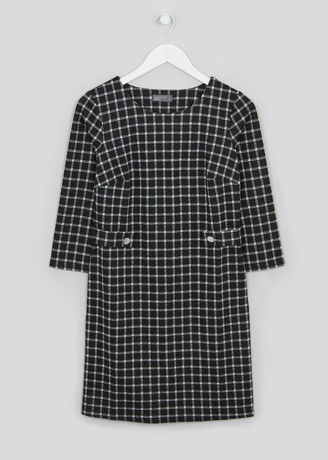Black 3/4 Sleeve Check Ponte Shift Dress