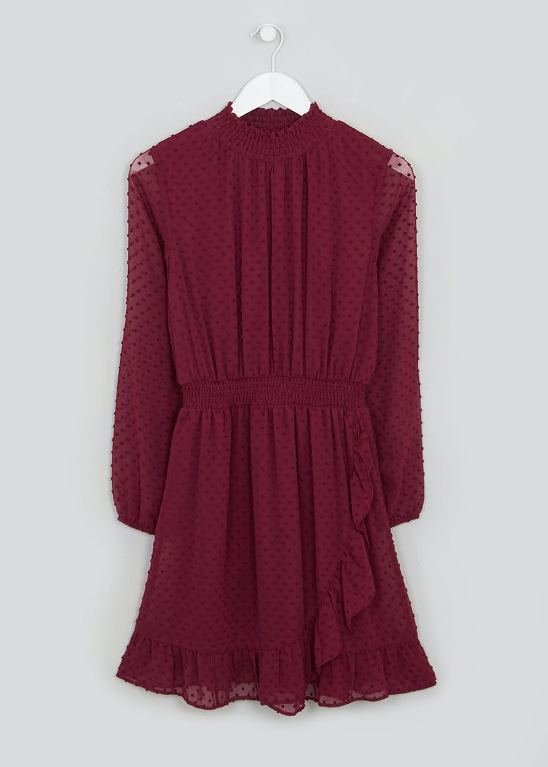 Burgundy Long Sleeve Dobby Mesh Mini Dress