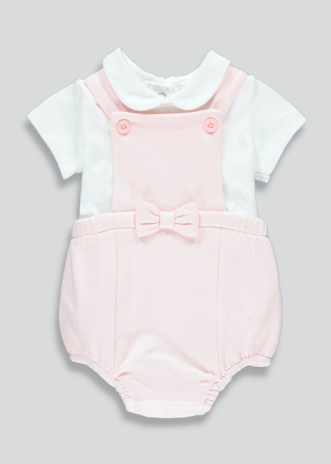 Girls Pink Dungarees & Bodysuit (Tiny Baby-23mths)