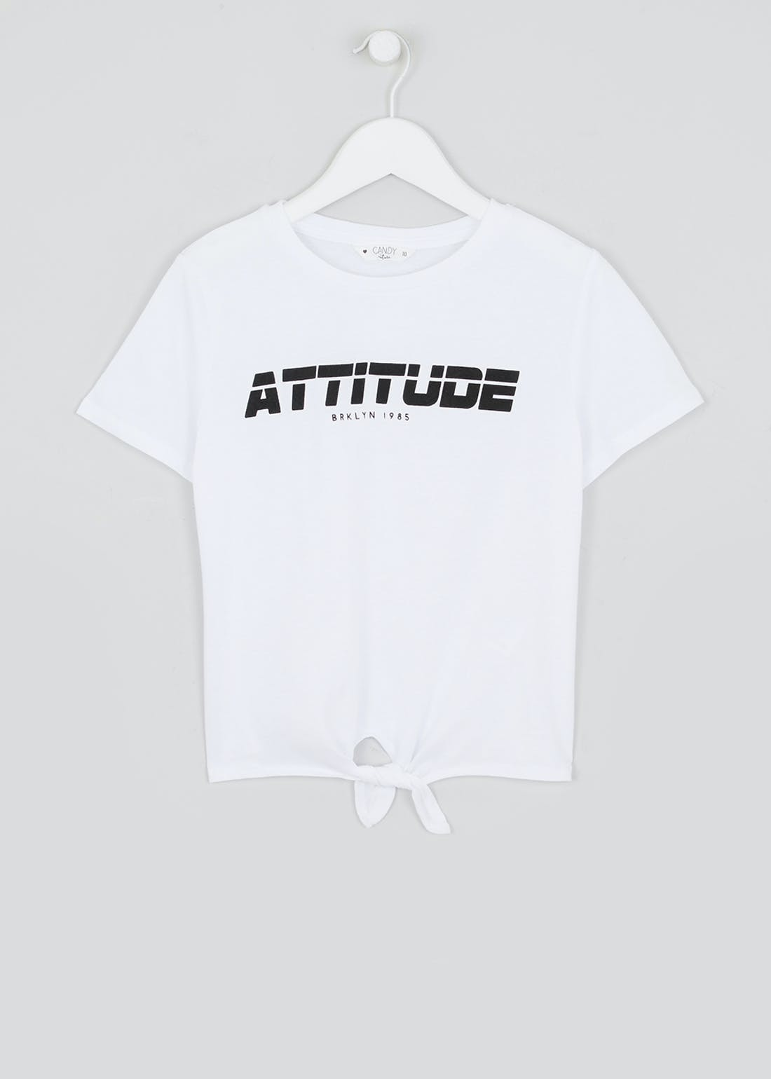 Girls Candy Couture Tie Front Slogan T-Shirt (9-16yrs)