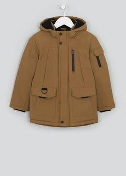 Boys Tan Hooded Parka Coat (4-13yrs)
