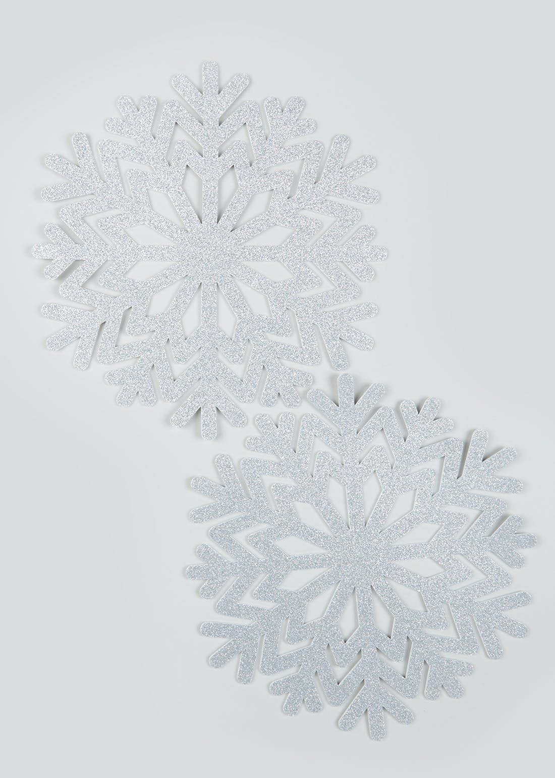 2 Pack Glitter Snowflake Christmas Placemats (37cm)