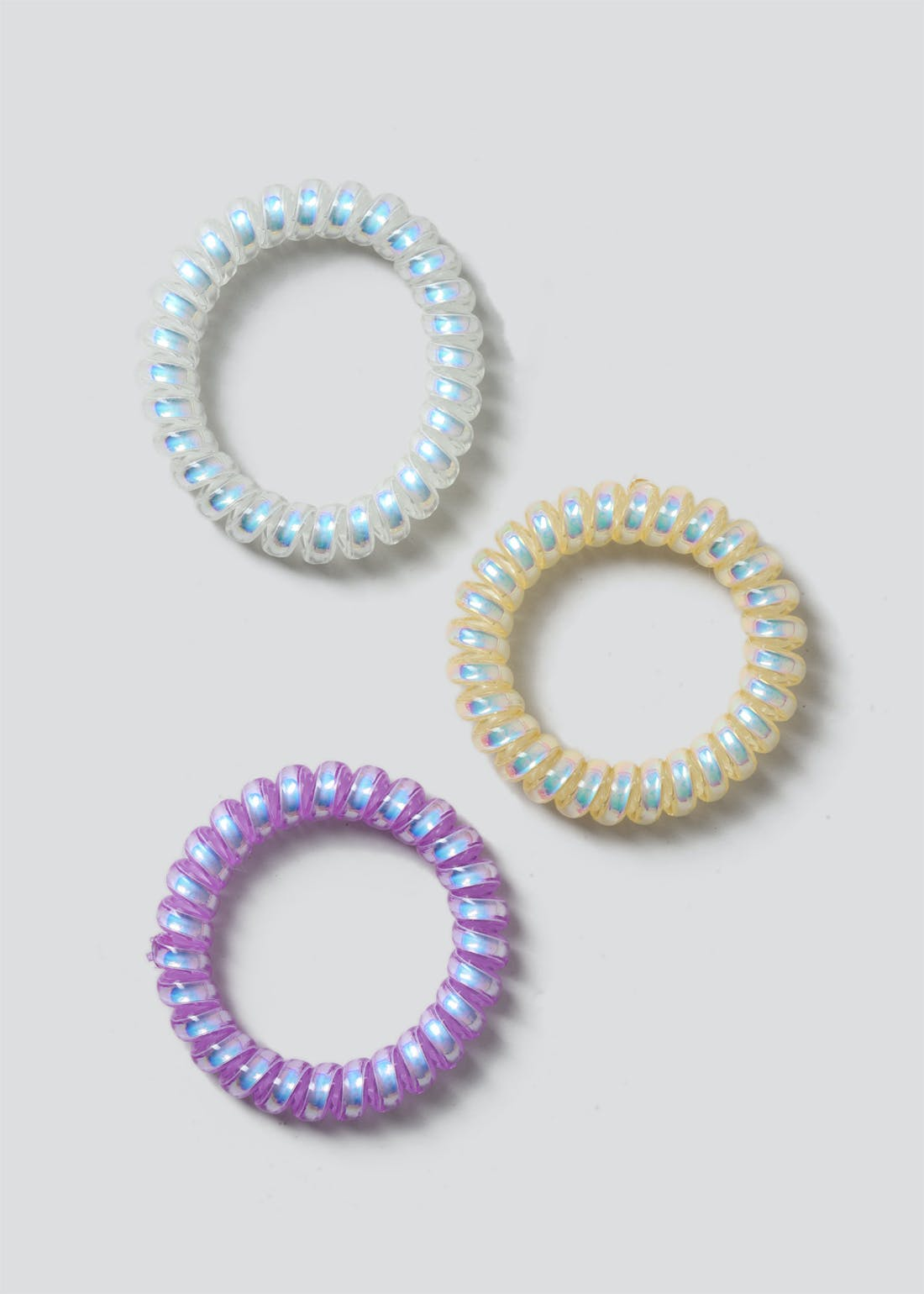 3 Pack Metallic Spiral Hair Ties