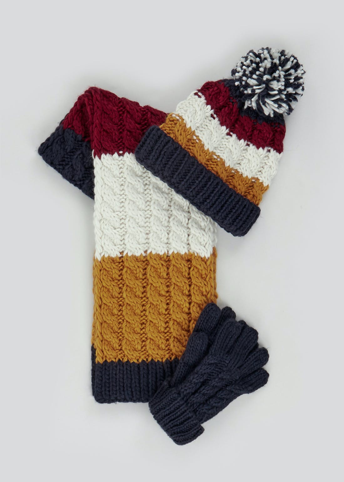 Boys Knitted Hat Scarf & Gloves Set (7-13yrs)