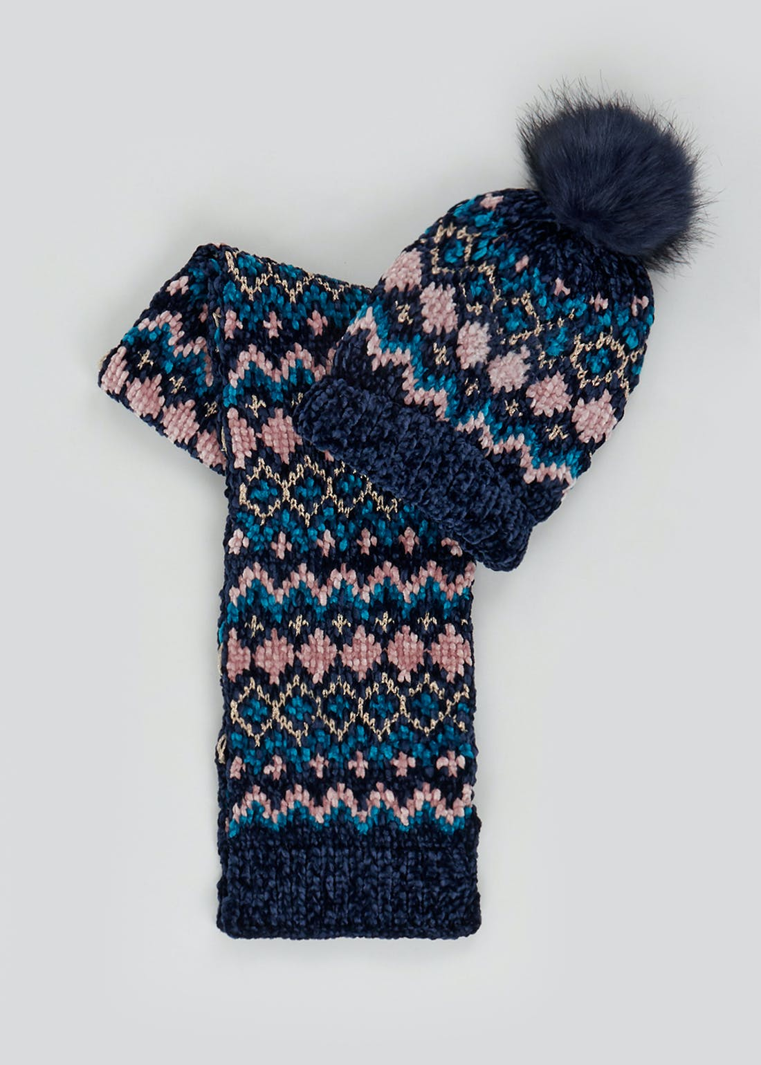 Girls Chenille Bobble Hat & Scarf Set (7-13yrs)