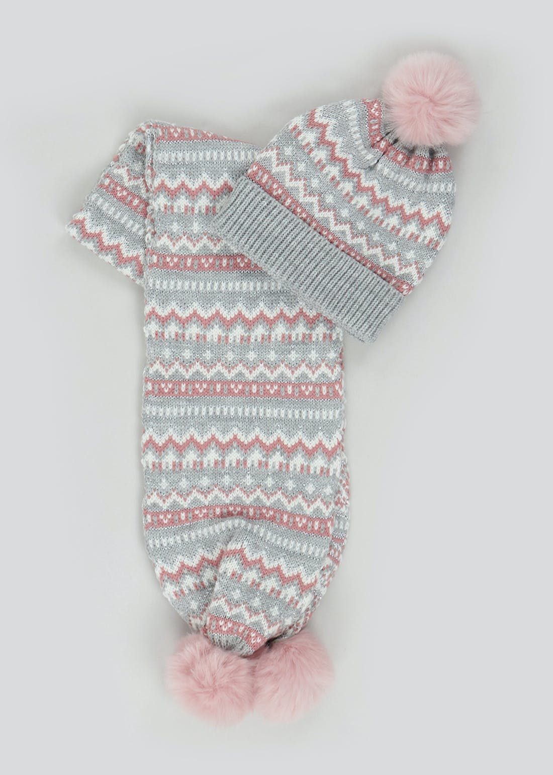 Girls Fair Isle Bobble Hat & Scarf Set (3-6yrs)