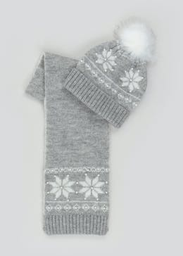 Girls Snowflake Bobble Hat & Scarf Set (7-13yrs)