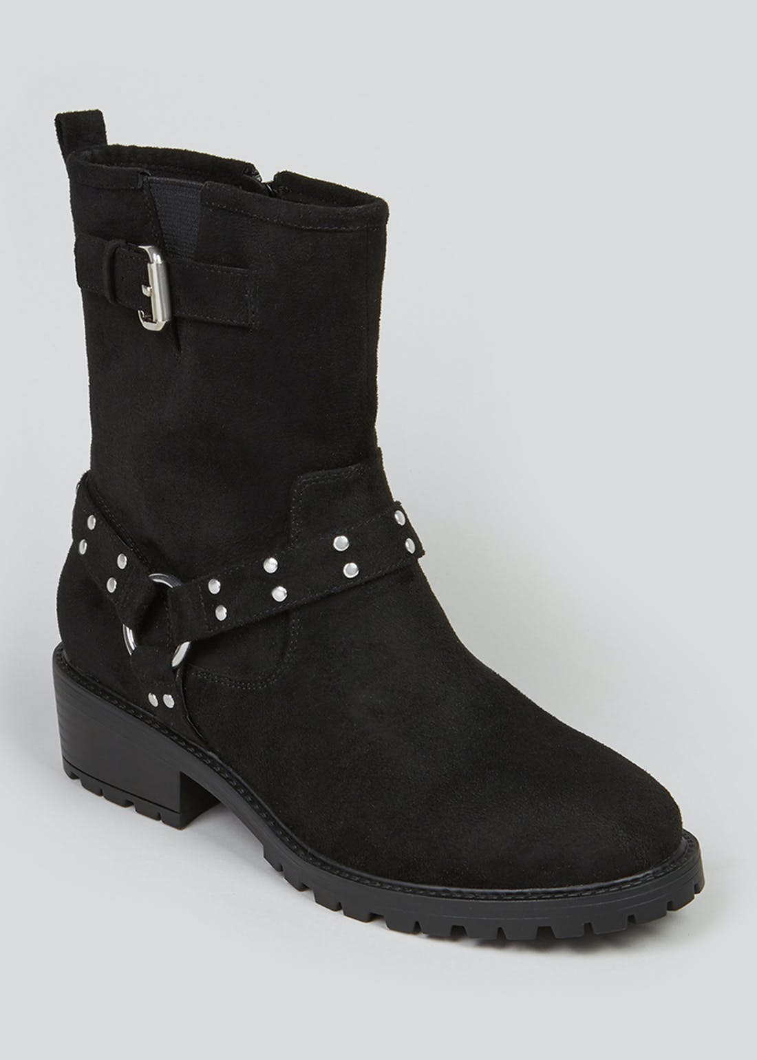 Black Harness Cleated Biker Boots