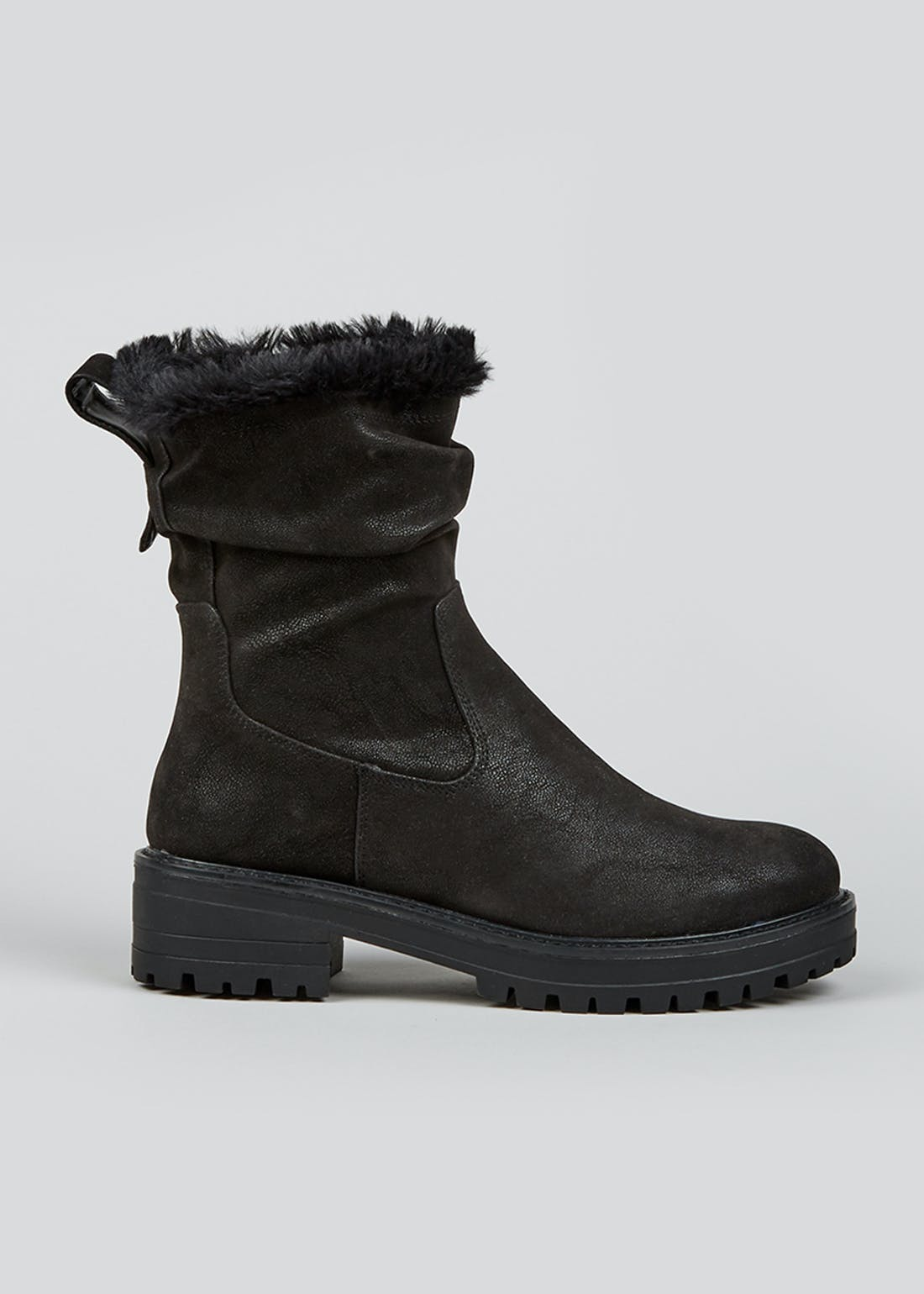 Black Slouch Faux Fur Lined Cleated Boots