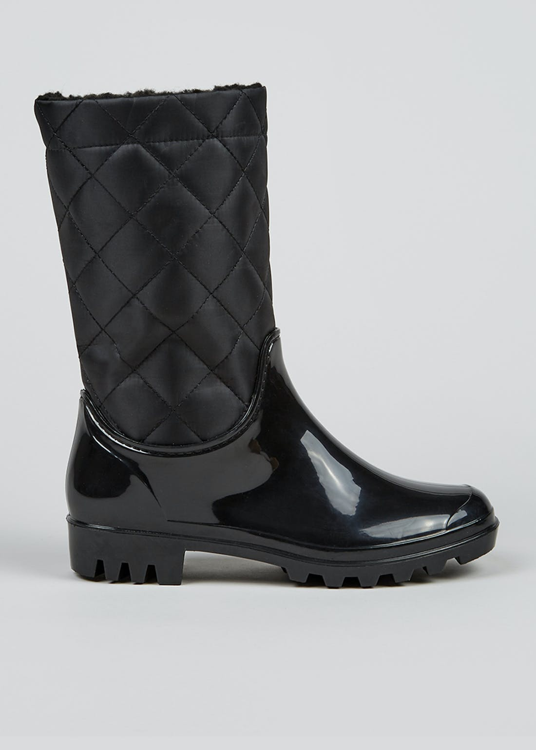 Black Quilted Teddy Fleece Lined Wellies
