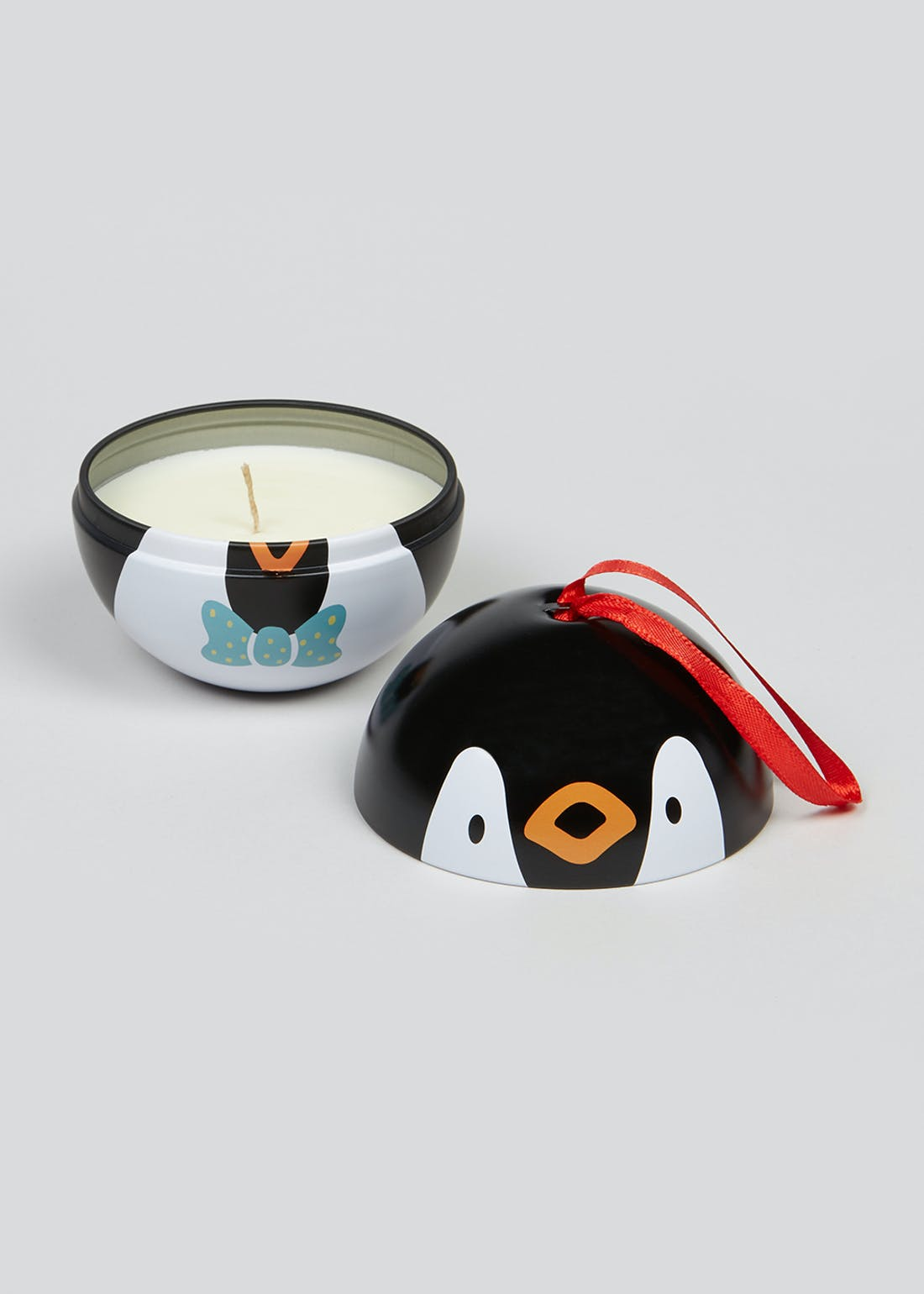 Christmas Penguin Bauble Candle Tin