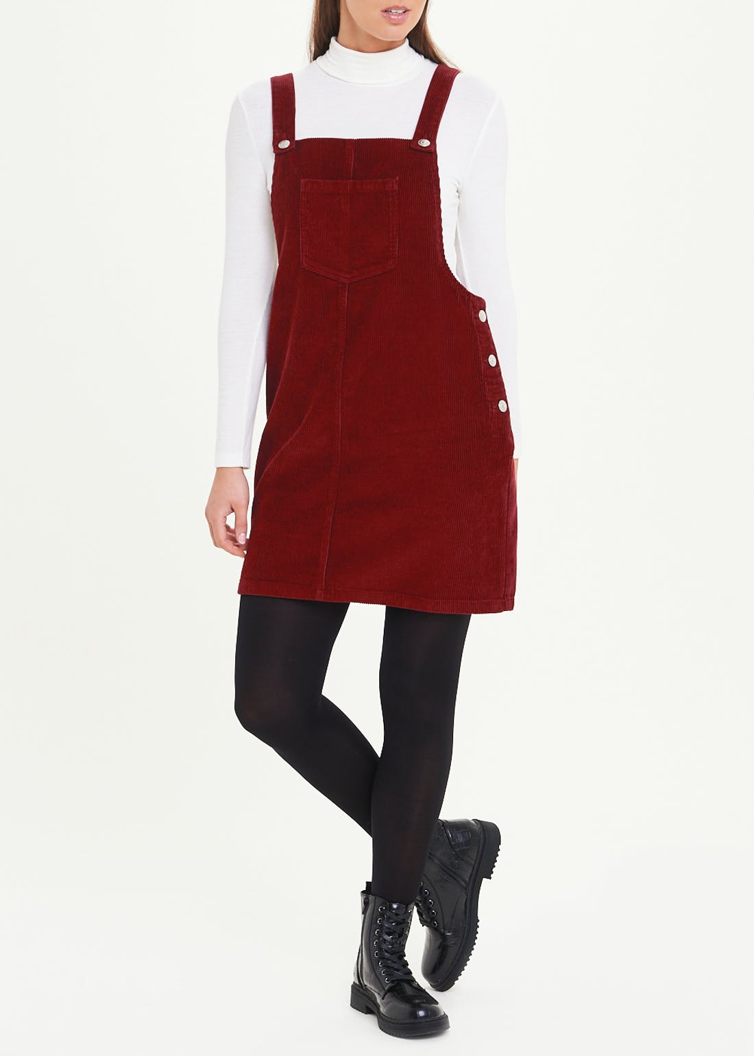 Red Cord Pinafore Dress