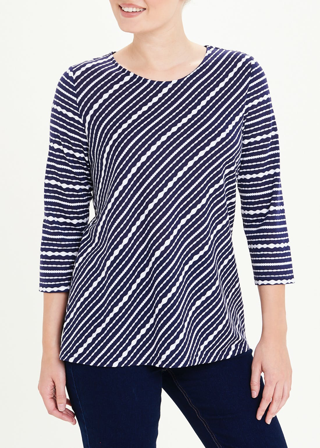 Papaya Classic 3/4 Sleeve Diagonal Stripe Top
