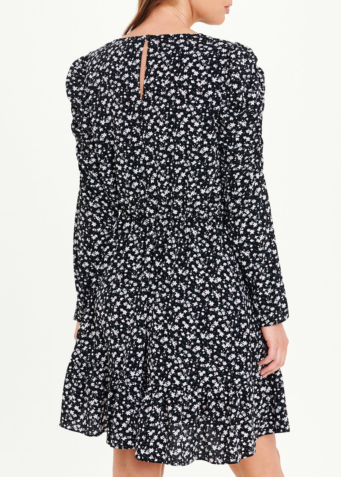Black Ruched Sleeve Floral Dress