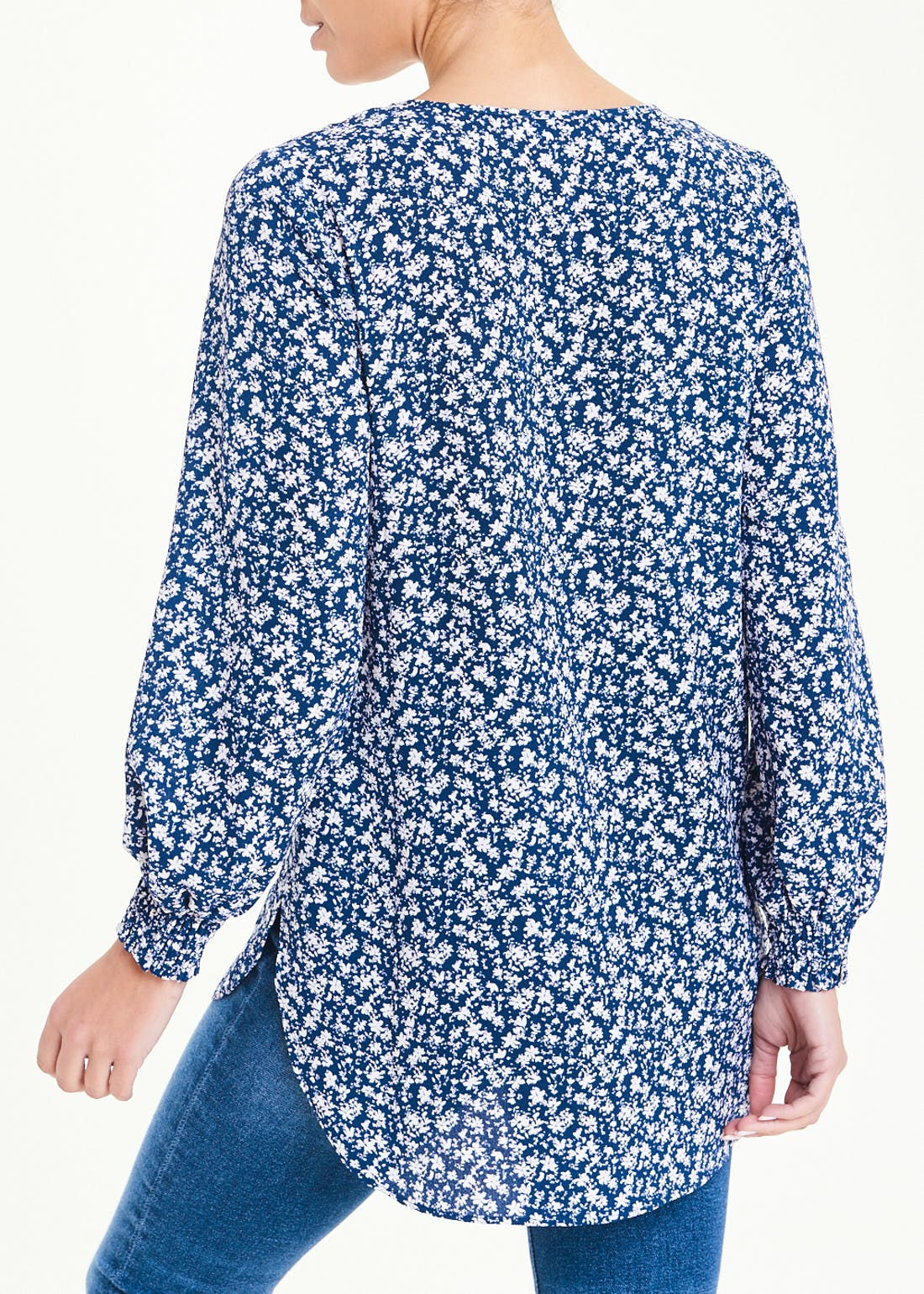 Blue Long Sleeve Floral Shirred Cuff Blouse