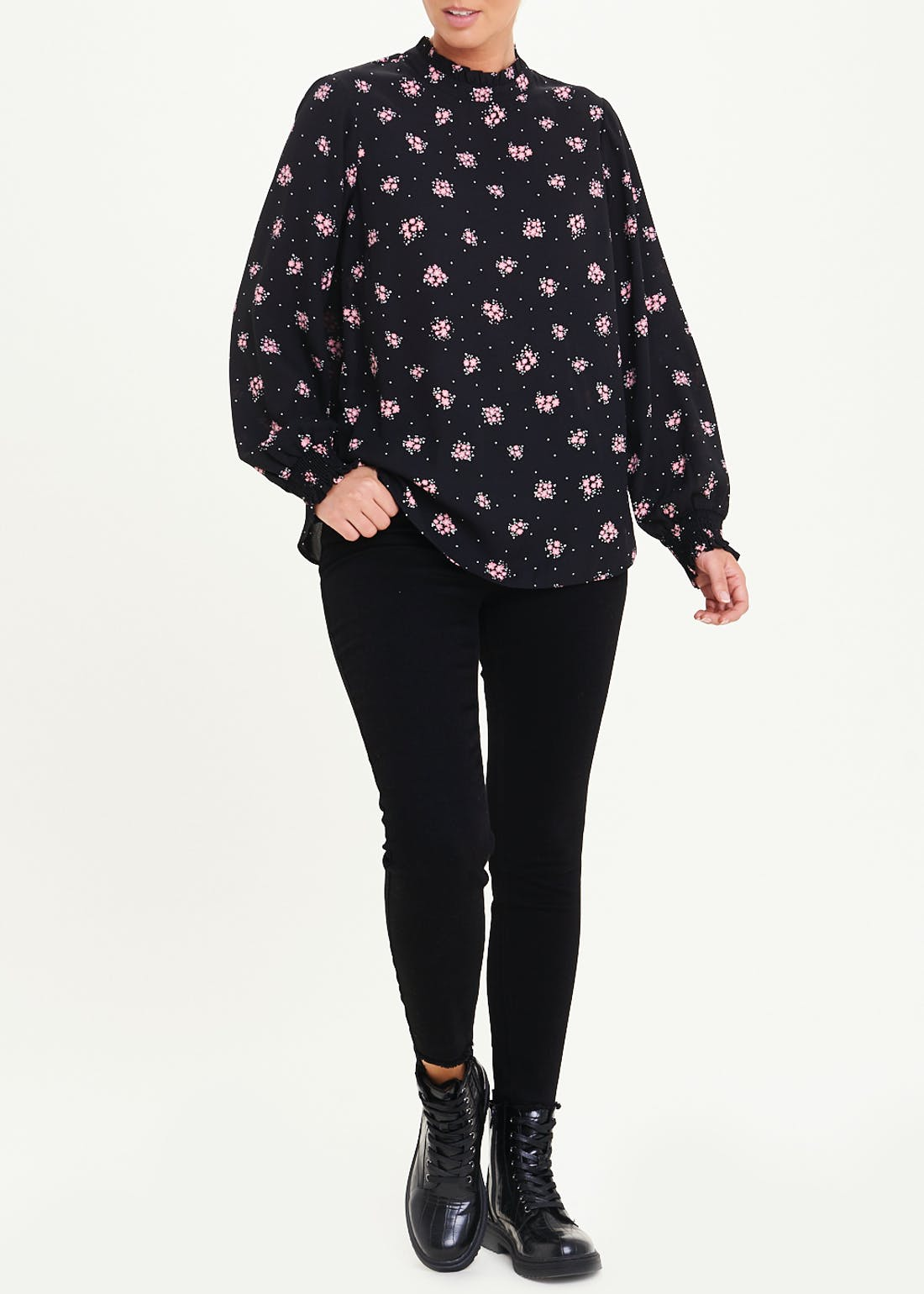 Black Long Sleeve Floral High Neck Blouse
