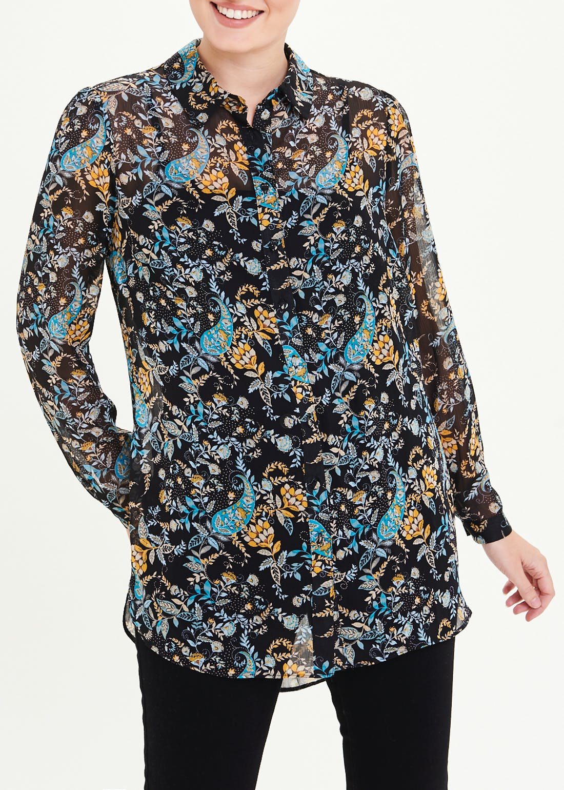 Long Sleeve Longline Sheer Paisley Floral Shirt