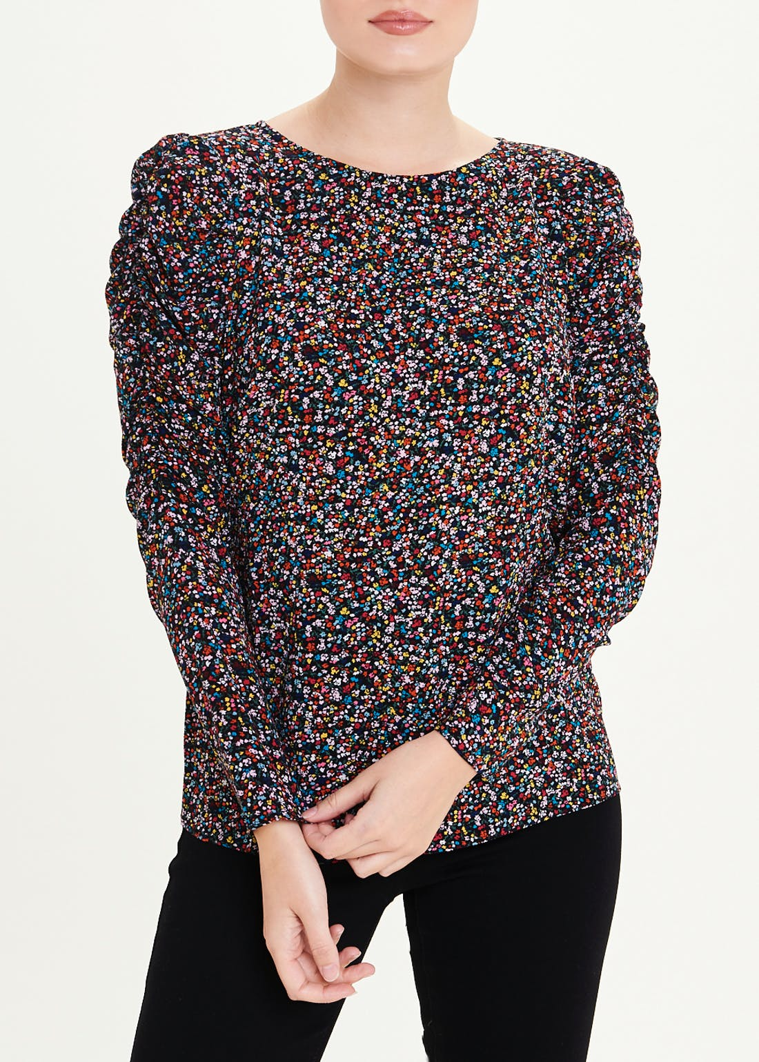 Ruched Long Sleeve Floral Ditsy Print Blouse