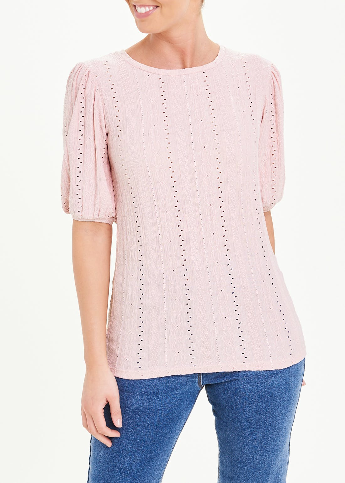 Puff Sleeve Textured Jersey Top