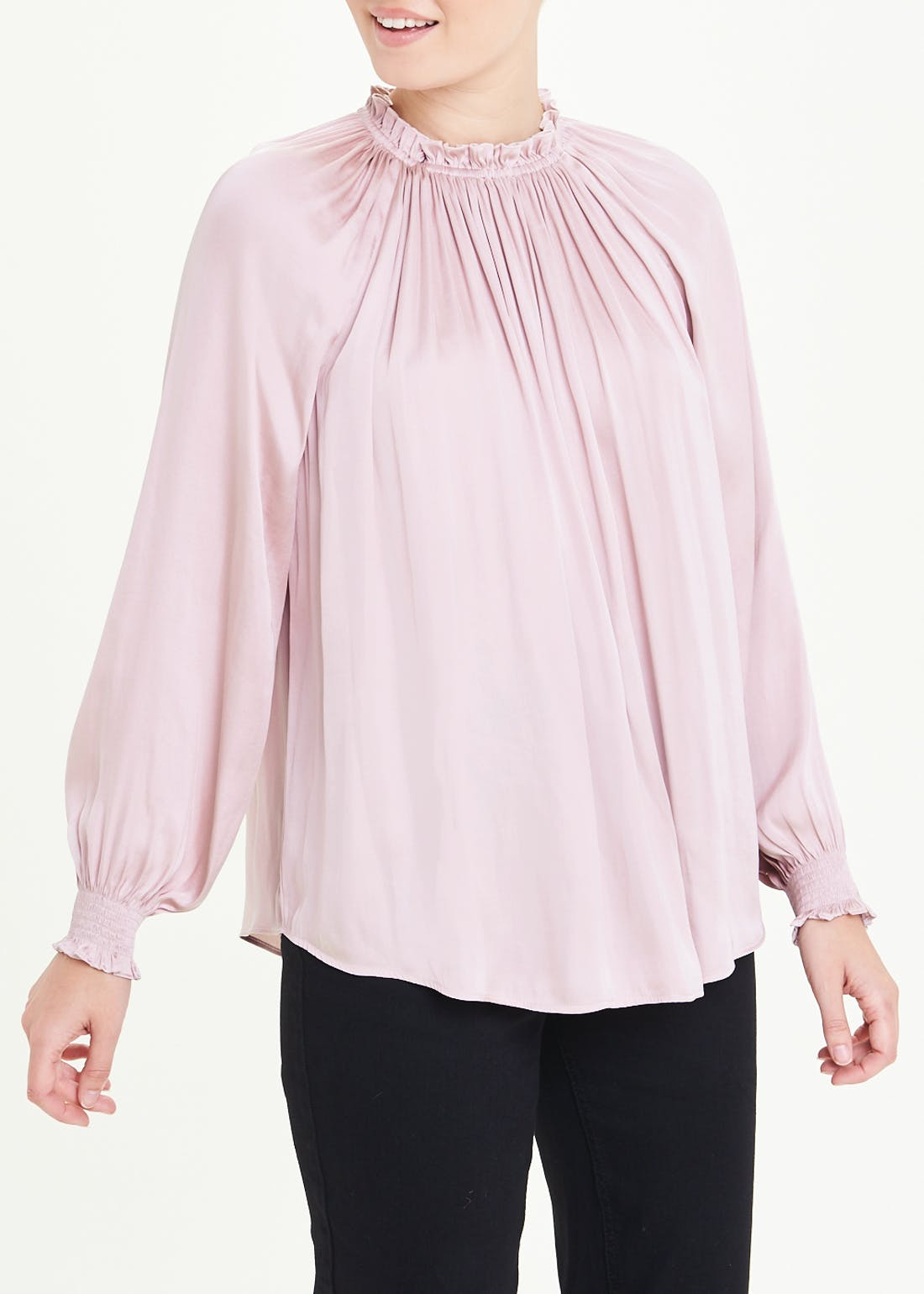 Pink Long Sleeve Gather Neck Satin Blouse