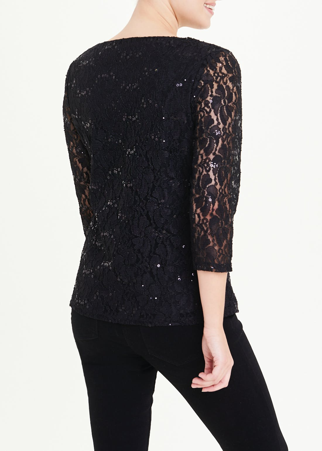 Papaya Classic Black Sequin Lace Top