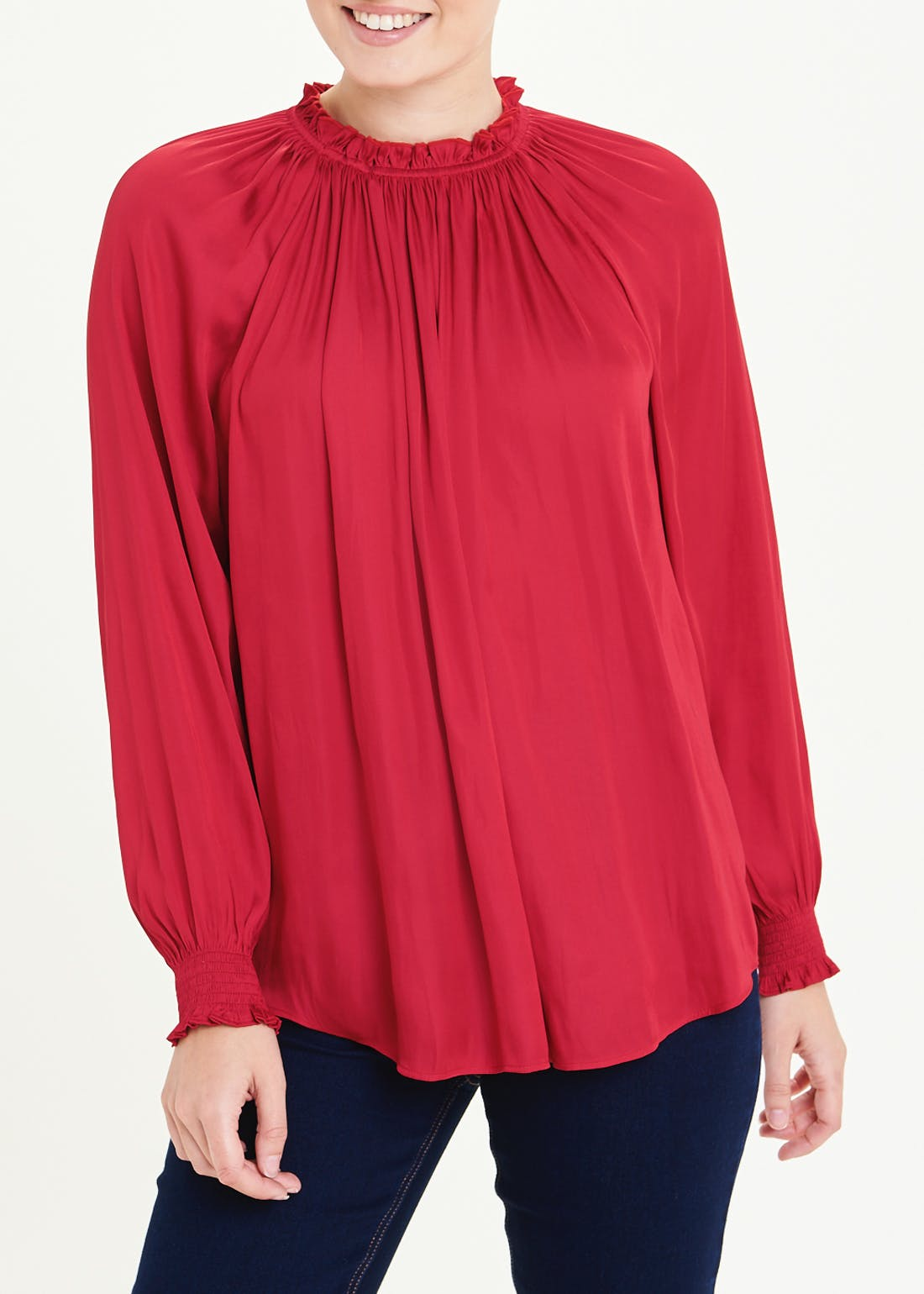 Red Long Sleeve Gather Neck Satin Blouse