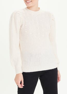 Puff Sleeve Bobble Knit Jumper