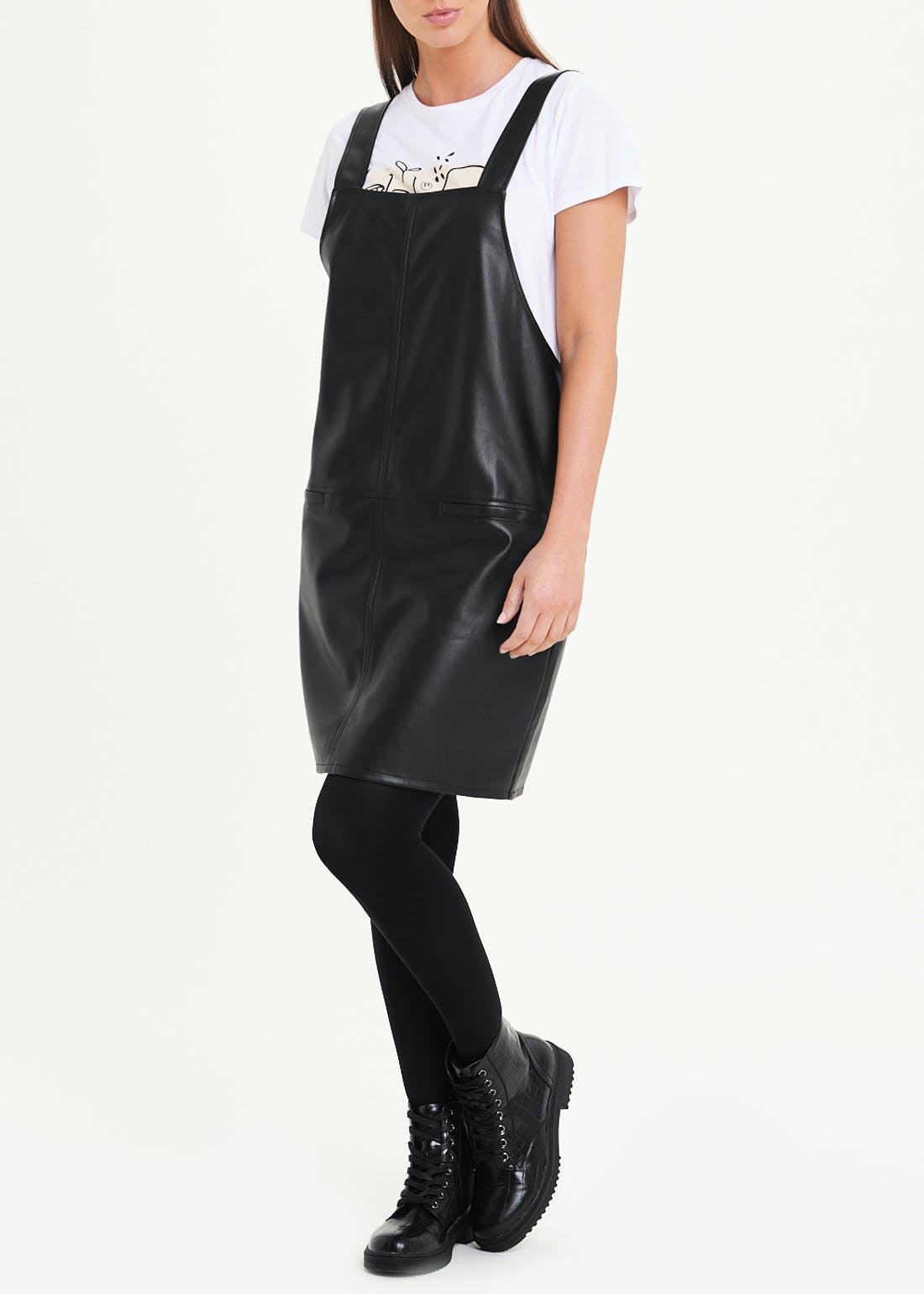 Leather Look Pinafore Dress