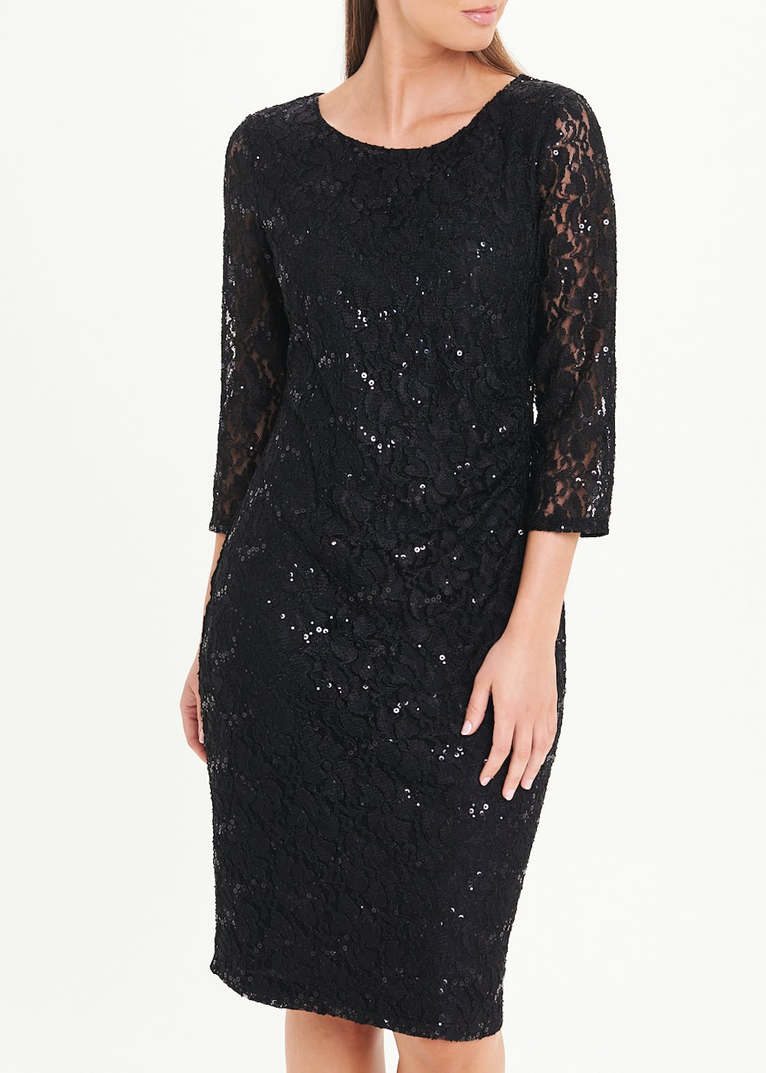 Papaya Classic Black Lace Bodycon Midi Dress