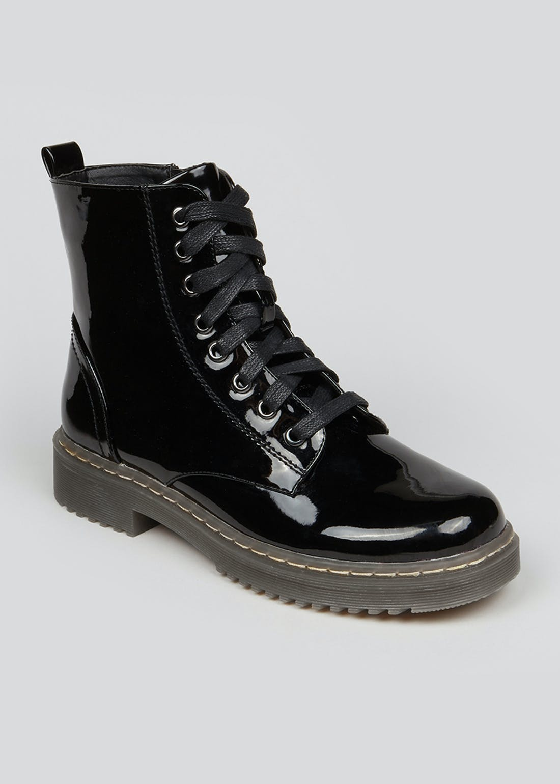 Black Patent Lace Up Worker Boots