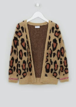 Girls Leopard Print Fluffy Cardigan (4-13yrs)